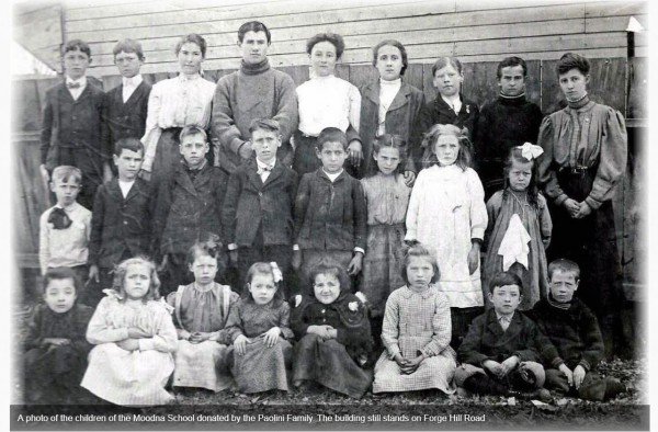 A photo of the children of the Moodna School donated by the Paolini Family.  The building still stands on Forge Hill Road